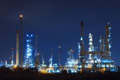 Lighing landscape of oil refinery petrochemical in heavy industr Royalty Free Stock Photo
