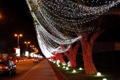 Lighing sur des arbres sur la quarante-deuxième célébration de jour national chez le Bahrain Image stock