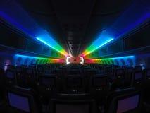 Lighitng d'arc-en-ciel de cabine d'aéronefs, pris par l'appareil-photo de gopro Image libre de droits
