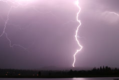 Lighning Bolt. A single strong lightning bolt that reaches from the sky to the ground stock photos