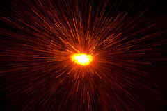 Light explosion. Zoomed raindrops on illuminated window create an explosion effect Stock Images
