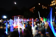 The 2014 Lighsaber Battle 2. A lightsaber duel occurs when two or more combatants armed with lightsabers, or when one party using lightsabers against another Stock Photo