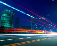 Light. The light trails on the modern building background in shanghai china Stock Images