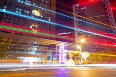 Light. The light trails on the modern building background in shanghai china Stock Photos