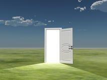 Light. Single door emits light in empty landscape Stock Image