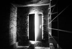 Ominous. Doors opening up to sunlight, Atalaya Castle, South Carolina, U.S.A stock image