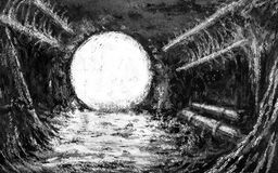 Light in abandoned bomb shelter royalty free illustration