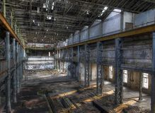 Light in an abandoned hall Royalty Free Stock Photo