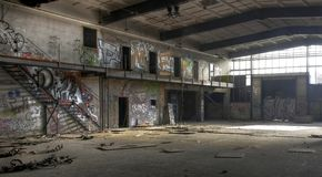 Light in an abandoned hall Stock Photo