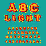Light ABC. Retro Alphabet with lamps. Glowing letters. font poin Stock Images