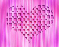 Light Abstract 3D Heart. Pink striped background with 3D heart shape embedded in the center royalty free illustration