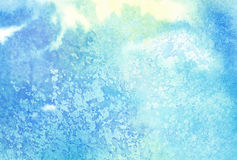 Light abstract blue painted watercolor splashes or. Cloud, sky stock illustration