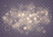 Light abstract bokeh. Light abstract glowing bokeh lights. Bokeh lights effect isolated on transparent background. Festive purple and golden luminous background stock illustration