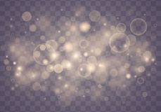 Light abstract bokeh. Light abstract glowing bokeh lights. Bokeh lights effect isolated on transparent background. Festive purple and golden luminous background royalty free illustration