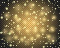 Light abstract glowing bokeh lights. Golden glitter effect background. Lens flare defocused light vector illustration eps 10 Stock Photos