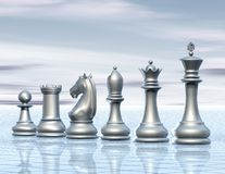 Light abstract surreal background with chess figurines Stock Photo