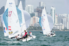 Light air tactics critical at ISAF Sailing World Cup Miami. Miami, USA, February 1, 2014 - Unusually light conditions prevailed at he ISAF Sailing World Cup in Royalty Free Stock Images