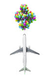 Light air travel concept airplane flies on balloons Stock Photos