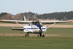 Light aircraft on airfield Royalty Free Stock Image