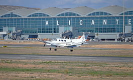 A Light Aircraft Arrives At Alicante Airport Royalty Free Stock Image