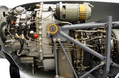 Light aircraft engine. With hydraulic, fuel pipes and other hardware and equipment Royalty Free Stock Photos