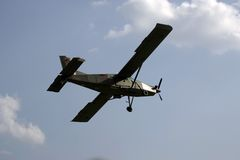 Light aircraft in flight Royalty Free Stock Images