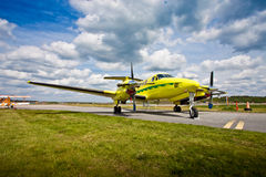 Light aircraft on runway Stock Photo