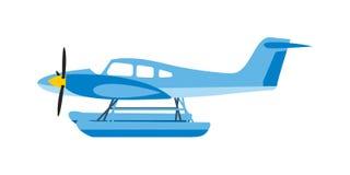 Light aircraft single propeller blue plane. Royalty Free Stock Image