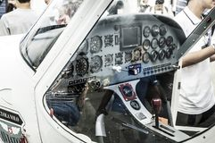 Light airplane cockpit. All the instrument of a light aircraft cockpit Royalty Free Stock Images