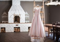 Light and airy wedding dress. A dress in rustic or Bokho style royalty free stock image