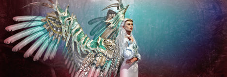 Light Angel 3d CG. 3d computer graphics of an angel with light dress, hair and wings Royalty Free Stock Photos