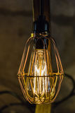 Light. Antique light bulb in wire guard Stock Photo
