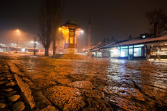 Light around night Bascarsija square with the Sebilj - a pseudo-Ottoman style wooden fountain Royalty Free Stock Images