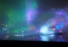 Light Art Festival 2014 in Lodz. Royalty Free Stock Photo
