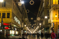Light and Art in Garibaldi Street, Turin. Turin,Italy,Europe - November 22, 2014 : Garibaldi Street illuminated by Light and Art with a composition of celestial royalty free stock image