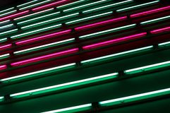 Light art installation in a subway Stock Images