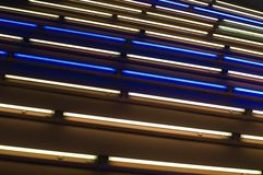 Light art installation in a subway. Colorful fluorescent neon light in an underpass in Berlin stock image