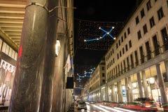Light and Art in Roma Street, Turin Royalty Free Stock Photos