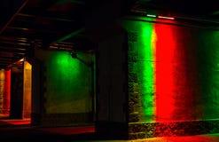 Light art under bridge Stock Photos