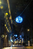 Light and Art in via Carlo Alberto in Turin, Italy Royalty Free Stock Photos