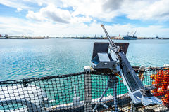 Light artillery gun on the museum battleship USS Missouri Stock Photography