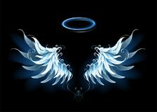 Blue angel wings. Light, artistic, blue angel wings on a black background. Angel wings vector illustration