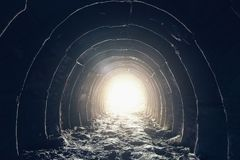 Free Light At The End Of Dark Industrial Tunnel, Abandoned Underground Cave Or Mine, Exit Or Escape To Freedom Light Concept Stock Photo - 108698850