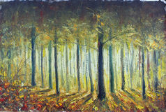 Light in the autumn forest, oil painting Royalty Free Stock Photography