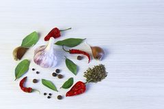 Light background with aromatic spices. Garlic, bay leaf, chili, stock photo