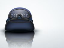 Light Background Blue Police helmets and mask. Stock Image