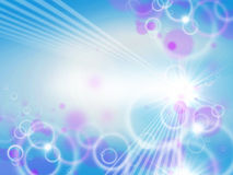 Light Background Blur. An illustration representing a blue and purple blur bokeh background with lights and sun rays Stock Photography