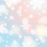 Light background with bokeh and blurred snowflakes, vector Stock Photo