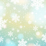 Light background with bokeh and blurred snowflakes, vector Stock Image