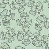 Light background with cheerful robots. Royalty Free Stock Images